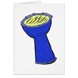 Tambor de la mano de Djembe del metal azul y Tarjeta Pequeña
