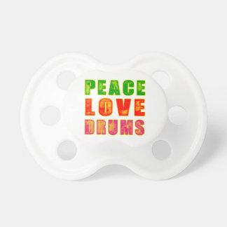 Tambor del amor de la paz chupetes para bebés