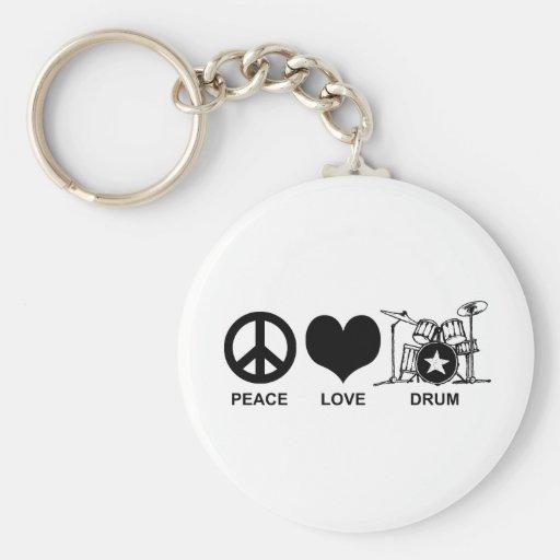 Tambor del amor de la paz llavero redondo tipo pin