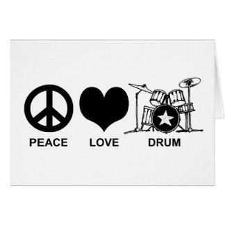 Tambor del amor de la paz tarjeta de felicitación