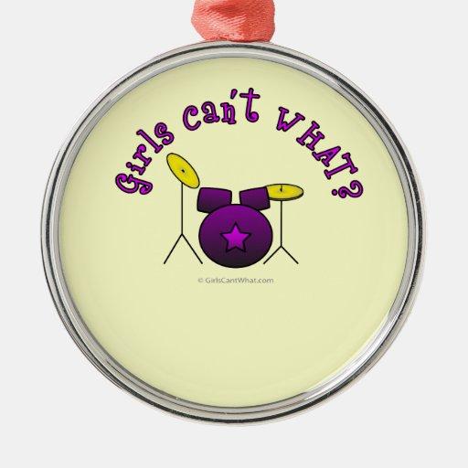 Tambor fijado - púrpura adorno de navidad