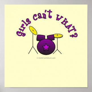 Tambor fijado - púrpura póster