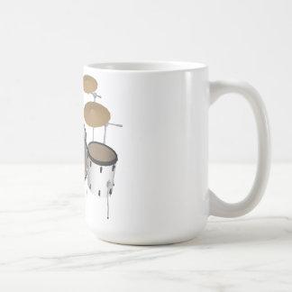 Tambores Batería blanca modelo 3D Tazas De Café