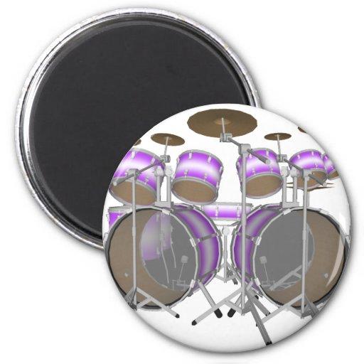 Tambores: Batería púrpura y blanca: modelo 3D: Imán Redondo 5 Cm