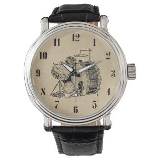 Tambores de la batería del vintage relojes de mano
