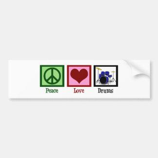 Tambores del amor de la paz etiqueta de parachoque