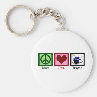 Tambores del amor de la paz llavero personalizado