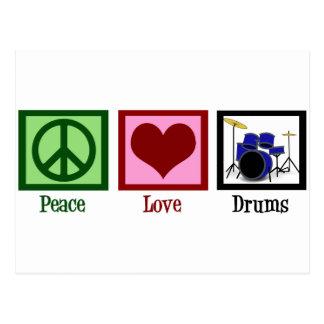 Tambores del amor de la paz postal
