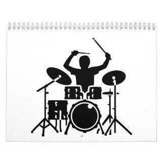 Tambores del batería de la banda calendarios de pared