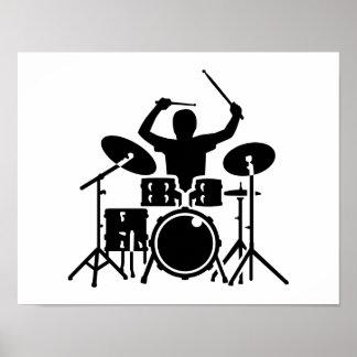 Tambores del batería de la banda póster
