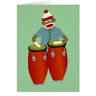 Tambores del Conga del mono del calcetín Tarjeta De Felicitación