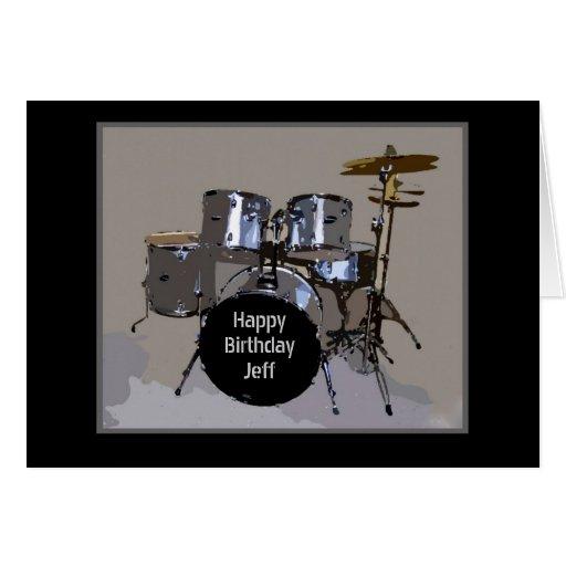 Tambores del feliz cumpleaños de Jeff Tarjetón