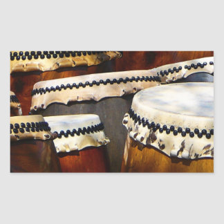 Tambores japoneses pegatina rectangular