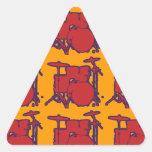 tambores rojos de la percusión pegatinas triangulo personalizadas