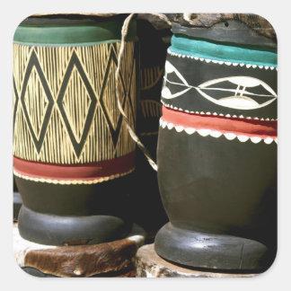 Tambores tallados mano Livingston Zambia Calcomanías Cuadradass Personalizadas