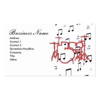 Tambores y notas de la música tarjetas de visita
