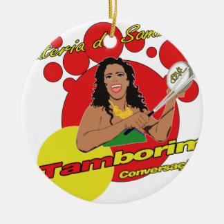 Tamborim Batucada de Samba Ceramic Ornament