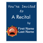 Tambourine Brown Graphic Musicial Instrument Personalized Invitations