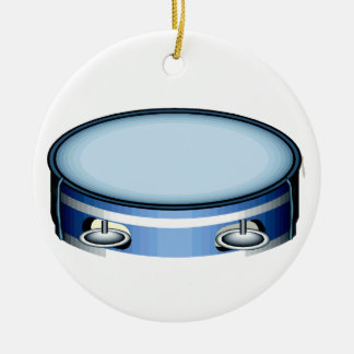 Tambourine Graphic Side View Blue Musicial Design Double-Sided Ceramic Round Christmas Ornament