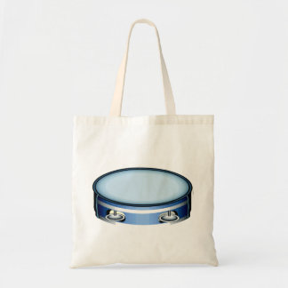Tambourine Graphic Side View Blue Musicial Design Tote Bag