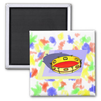 Tambourine , Yellow, Upside Down with blue back Magnet