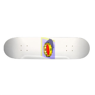 Tambourine , Yellow, Upside Down with blue back Skateboard