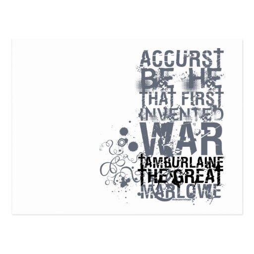 Tamburlaine War Quote (B&W) Post Card