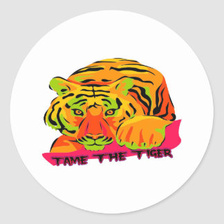 Tame the Tiger Classic Round Sticker