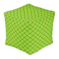 Tami Kaye Plaid Cube Pouf