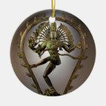 Tamil de Shiva de la deidad hindú el transformador Adorno Navideño Redondo De Cerámica