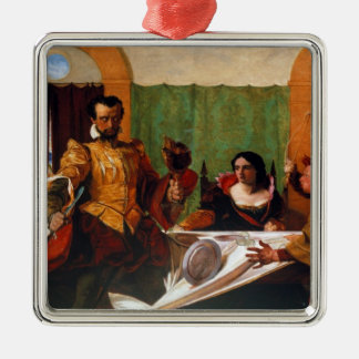 Taming of the Shrew Square Metal Christmas Ornament