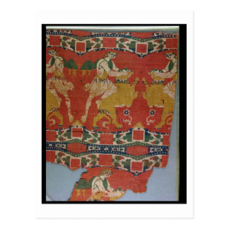 Taming of the Wild Animal, Byzantine tapestry frag Postcard