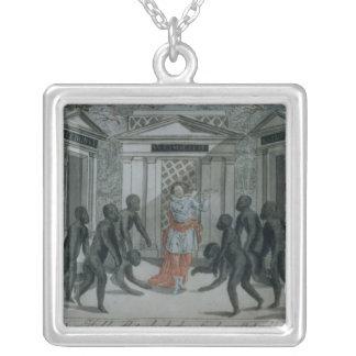 Tamino plays the magic flute square pendant necklace