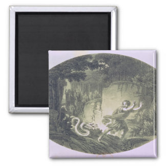 Tamino pursued by a giant serpent 2 inch square magnet