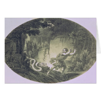 Tamino pursued by a giant serpent card