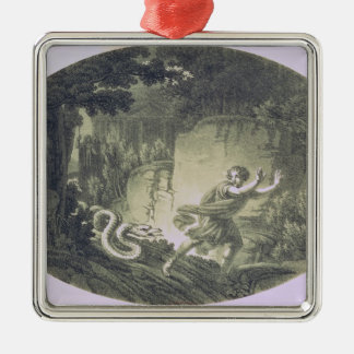 Tamino pursued by a giant serpent metal ornament