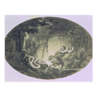 Tamino pursued by a giant serpent postcard