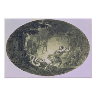 Tamino pursued by a giant serpent poster