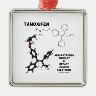Tamoxifen Anti-Estrogen Therapy In Breast Cancer Square Metal Christmas Ornament