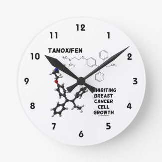 Tamoxifen Inhibiting Breast Cancer Cell Growth Round Wallclocks