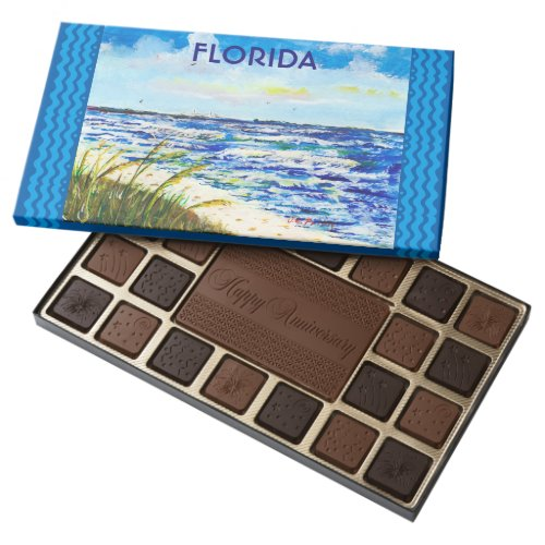 Tampa Bay Florida Beach Sunshine Skyway Bridge 45 Piece Box Of Chocolates