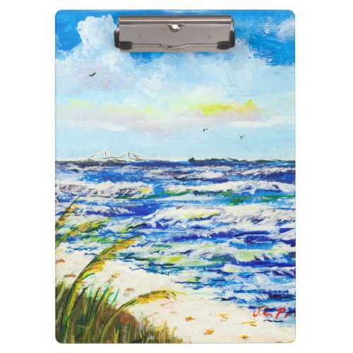 Tampa Bay Florida Beach Sunshine Skyway Bridge Clipboard