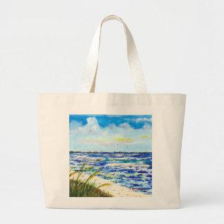 Tampa Bay Florida Beach Sunshine Skyway Bridge Large Tote Bag