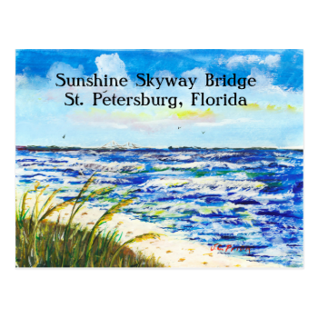 Tampa Bay Florida Beach Sunshine Skyway Bridge Post Card