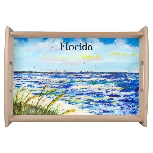 Tampa Bay Florida Beach Sunshine Skyway Bridge Serving Tray