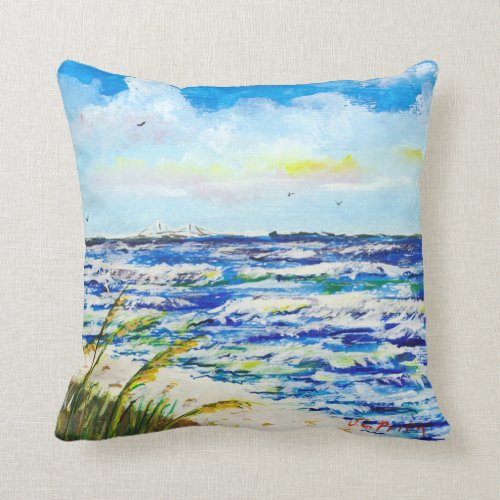 Tampa Bay Florida Beach Sunshine Skyway Bridge Throw Pillow