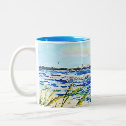 Tampa Bay Florida Beach Sunshine Skyway Bridge Two-Tone Coffee Mug