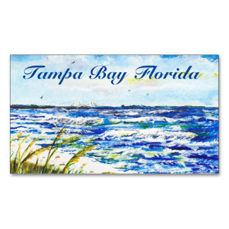 Tampa Bay Florida Beach Sunshine Skyway Bridge Magnetic Business Cards (Pack Of 25)