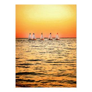 Tampa Bay Sail Boats Davis Island Sunset Custom Announcements