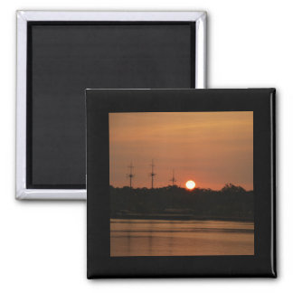 Tampa Bay Sunset & Pirate Ship... 2 Inch Square Magnet